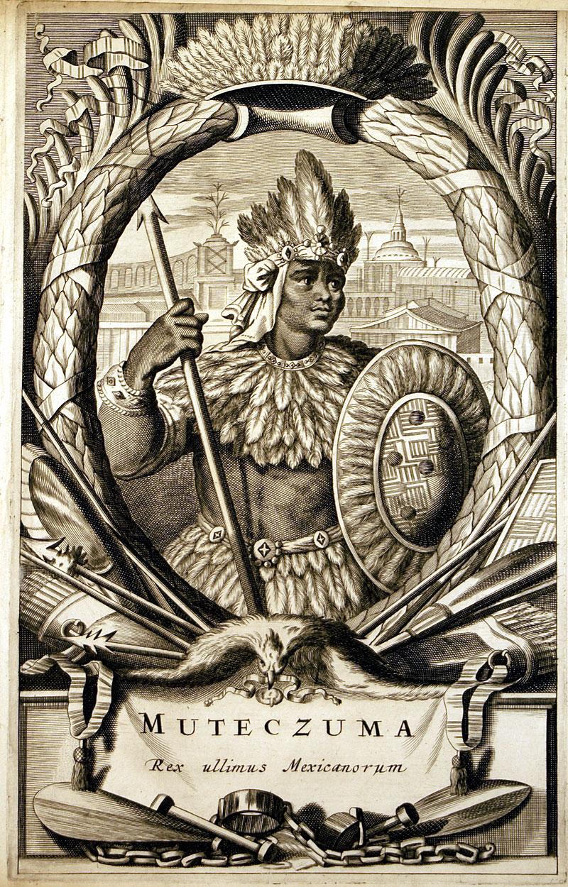 Montezuma - Aztec Emperor of Mexico c 1671 - Montanus