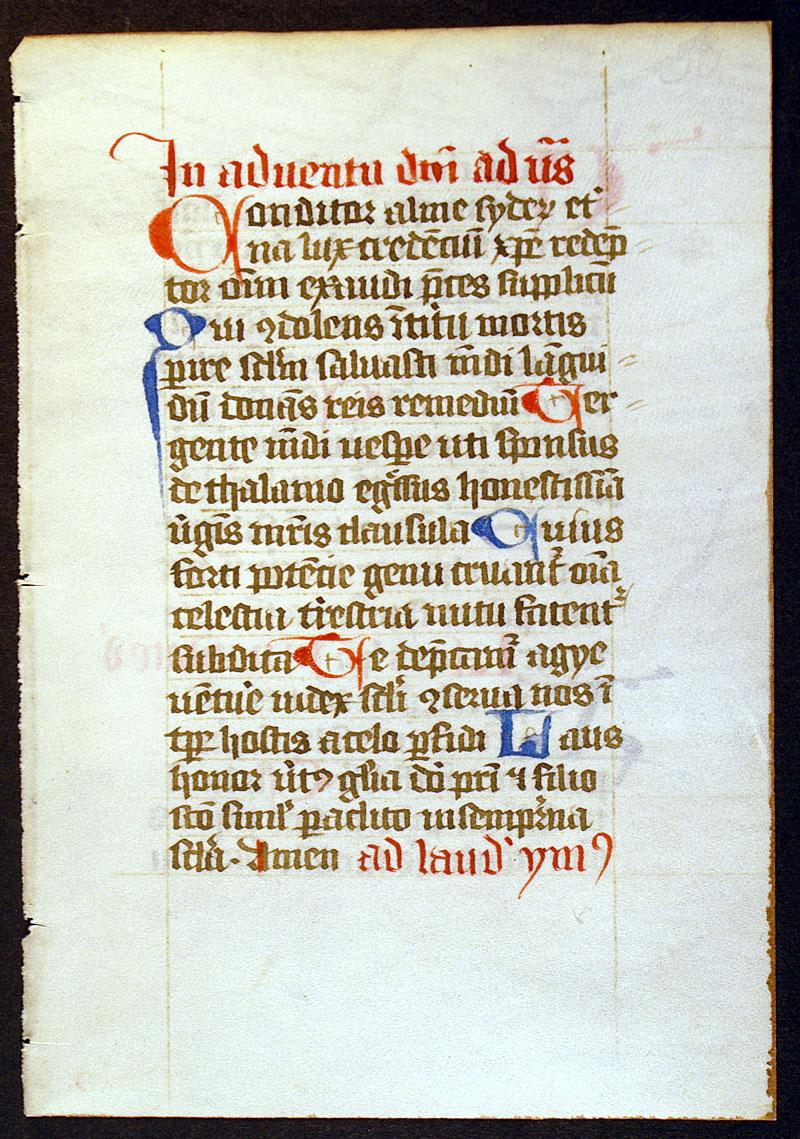 medieval breviary leaf hymns for advent im 10978 0. Black Bedroom Furniture Sets. Home Design Ideas