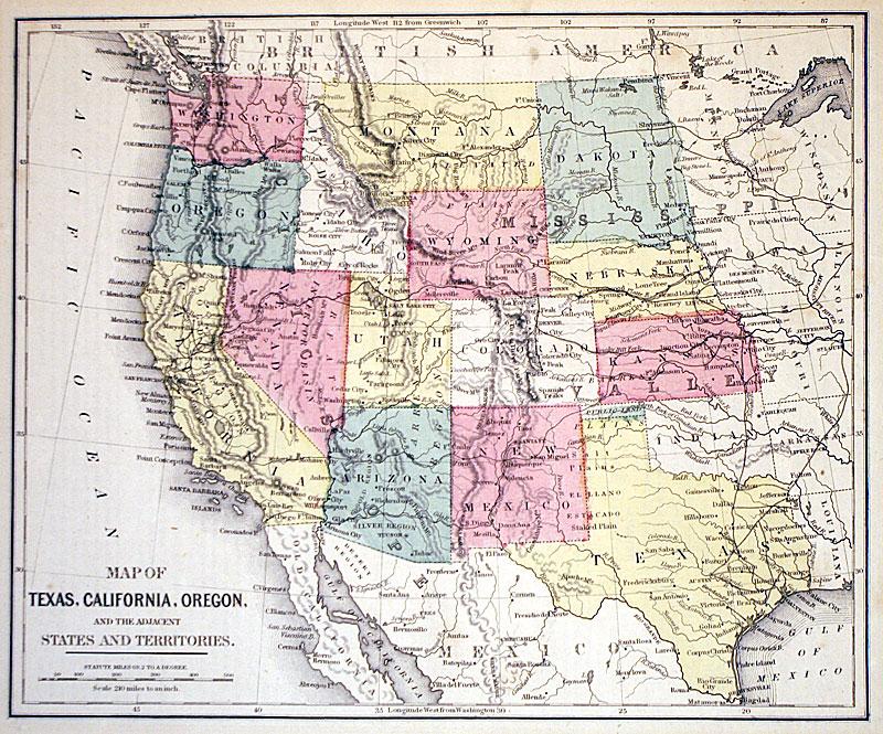 Texas California Oregon C 1874 Warren M 10156