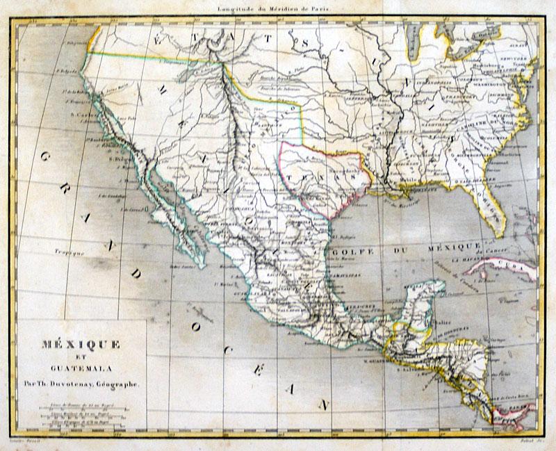 Map Of Texas 1840.Republic Of Texas Mexico Guatemala 1840 Duvotenay