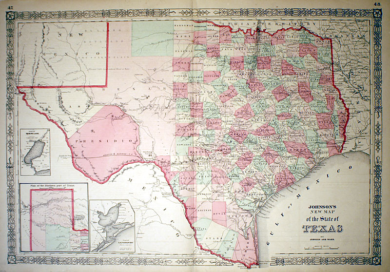 New Map Of Texas.New Map Of The State Of Texas C 1865 Johnson
