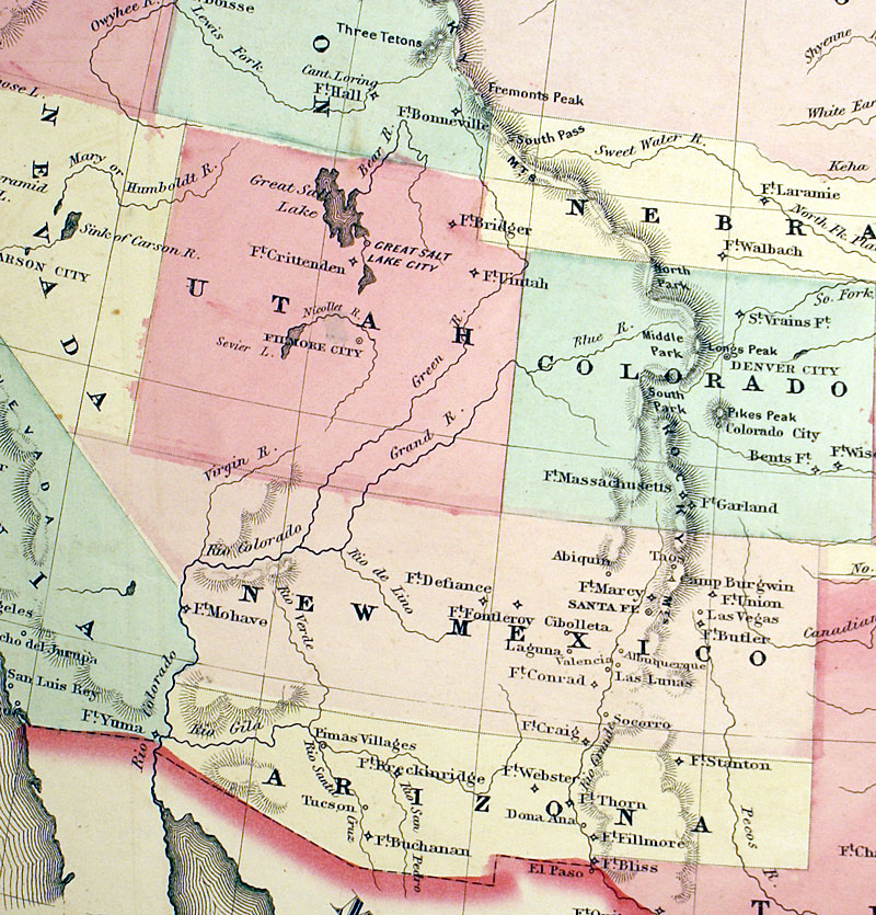 New Military Map Of The United States C Johnson M - Us map 1862