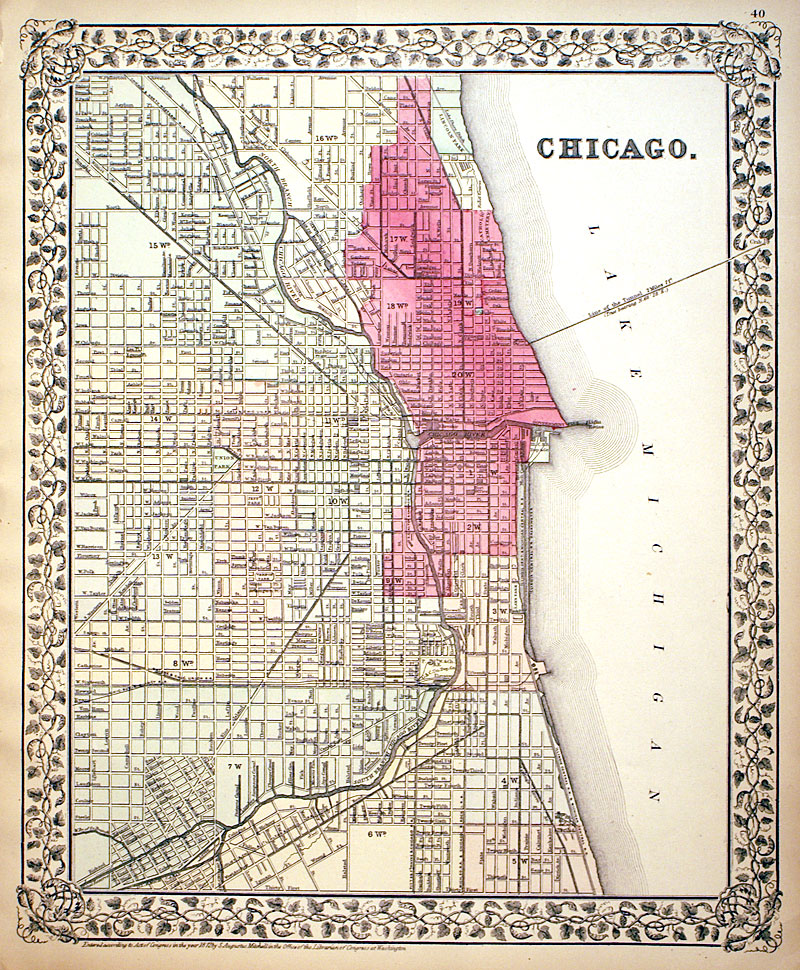 Chicago 1872 Mitchell Shows Great Fire Area M 13560 0 00