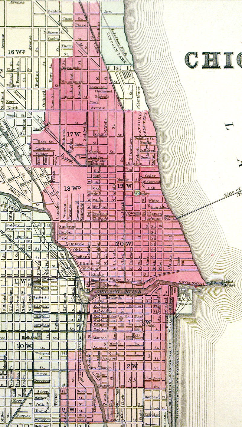 Chicago  Mitchell Shows Great Fire Area M - Chicago fire map