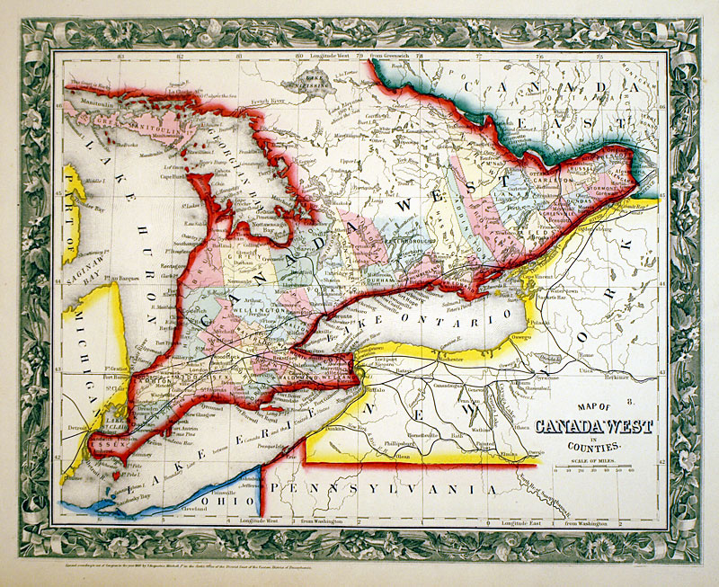 map of canada west c 1860 mitchell se ontario m 13587 15000 antique manuscripts maps prints and antiquities