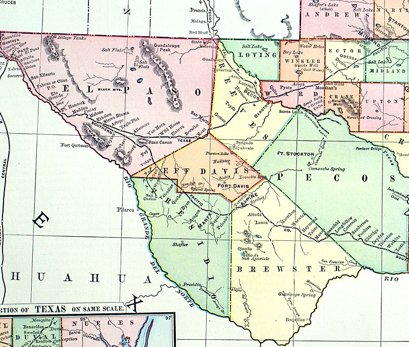 Railroad Map Of Texas.Texas C 1898 Rand Mcnally Co Large Railroad Map M 13786