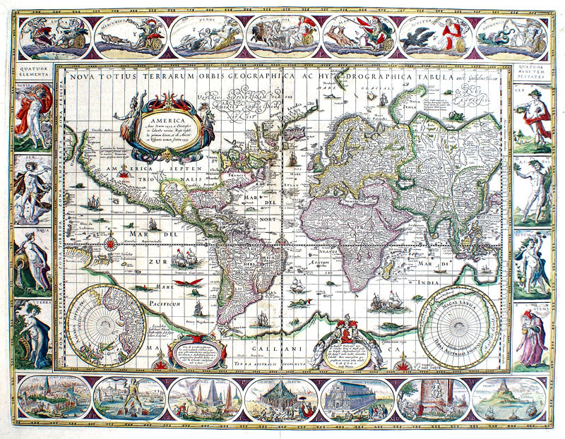 Blaeu World Map.Blaeu Map Of The World C 1635 Cartes A Figures M 13903