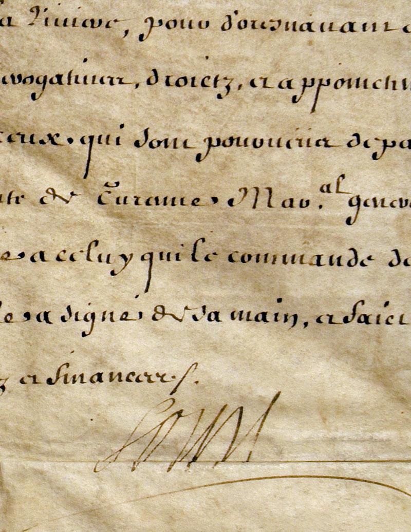 louis xiv autographed document 1671 king of france d. Black Bedroom Furniture Sets. Home Design Ideas