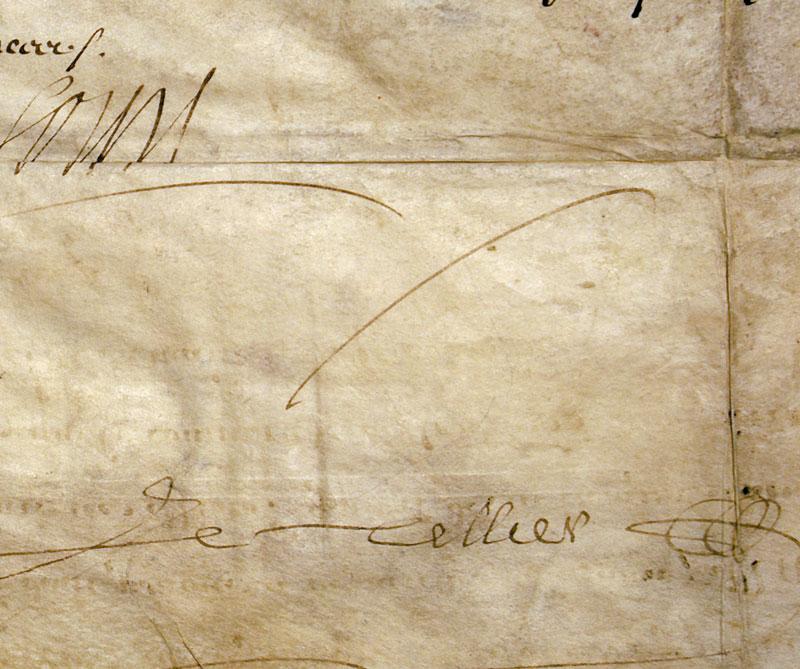 louis xiv autographed document 1671 king of france d 1474 antique manuscripts. Black Bedroom Furniture Sets. Home Design Ideas
