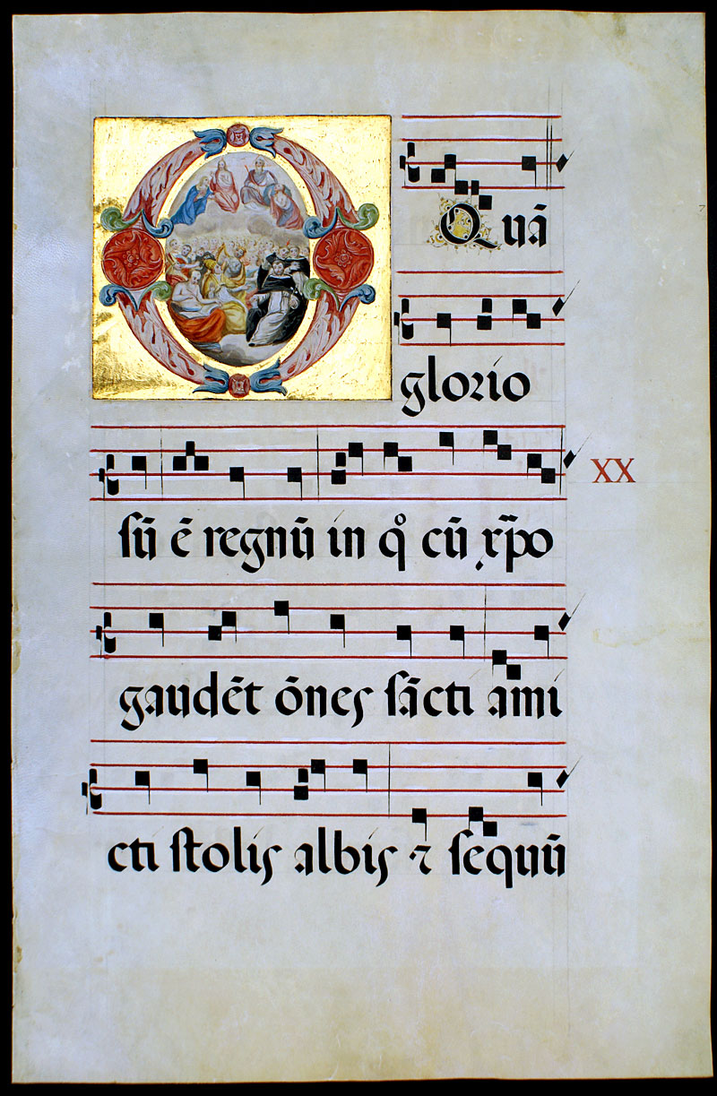 exceptional gregorian chant w miniature painting of all