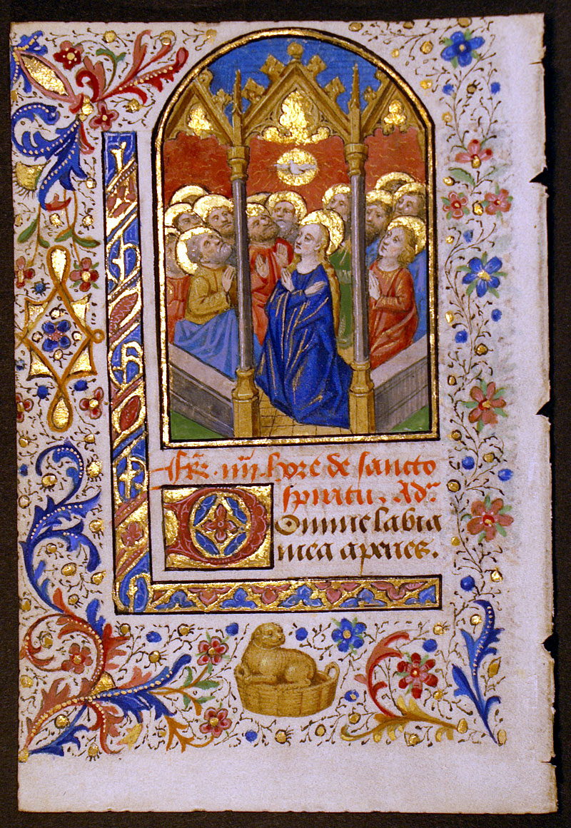 Medieval Book Of Hours Leaf The Pentecost Im 10269