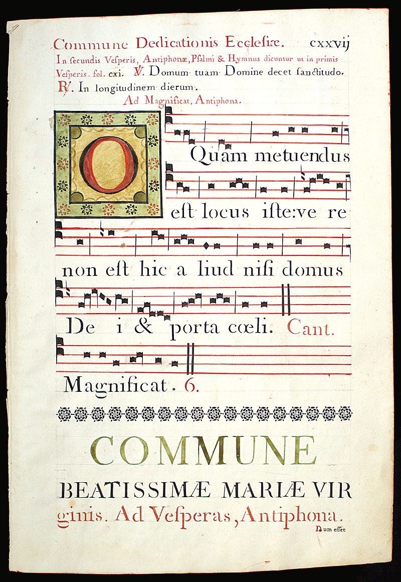 Gregorian Chant - c 1778 Italy - 4 line stave