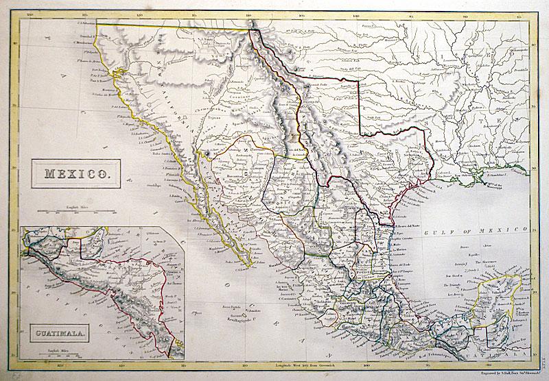 Map Of Texas 1840.Mexico Guatimala Republic Of Texas C 1840 Hall