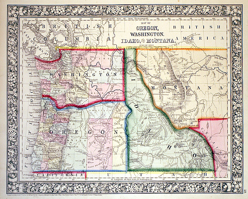 map of oregon washington idaho c 1866 mitchell m