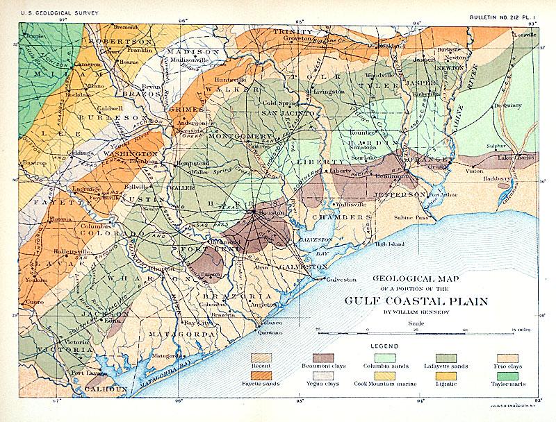 Geological Map...Gulf Coastal Plain c 1903 - Dept Interior [M-12650 ...