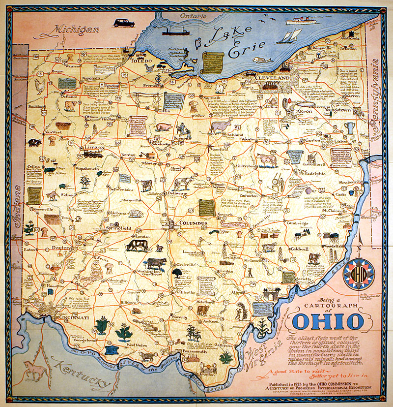 Antique Ohio Map.Cartograph Of Ohio Advertising Map C 1933 M 13315 0 00