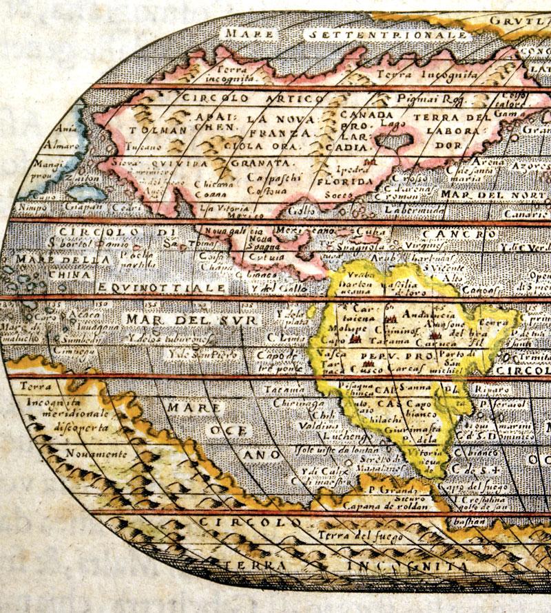 Mappa Mondo C 1586 Porcacchi World Map M 13319 875