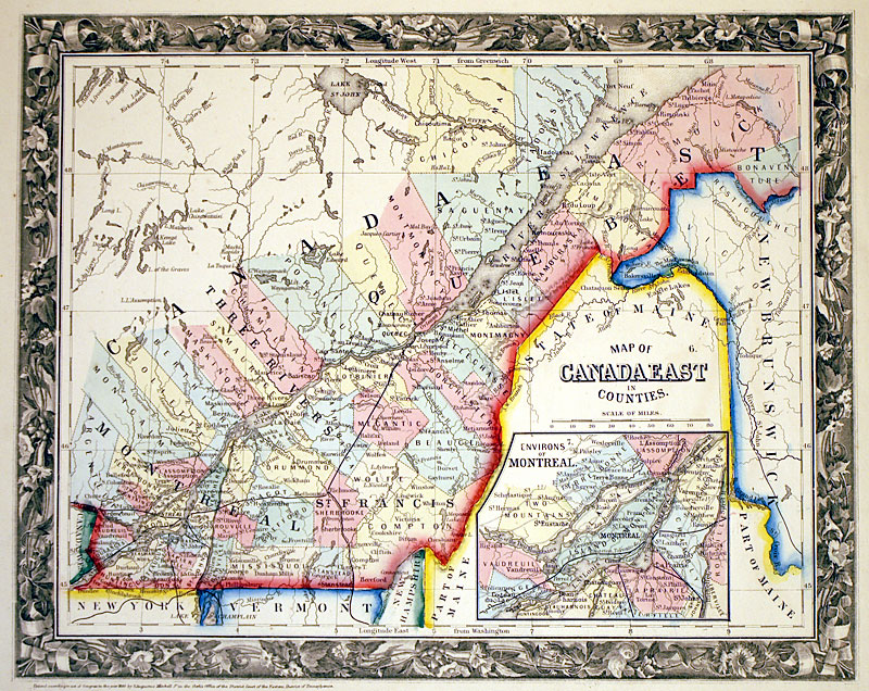 Map Of Canada East.Canada East Quebec C 1860 Mitchell M 13588 0 00 Antique