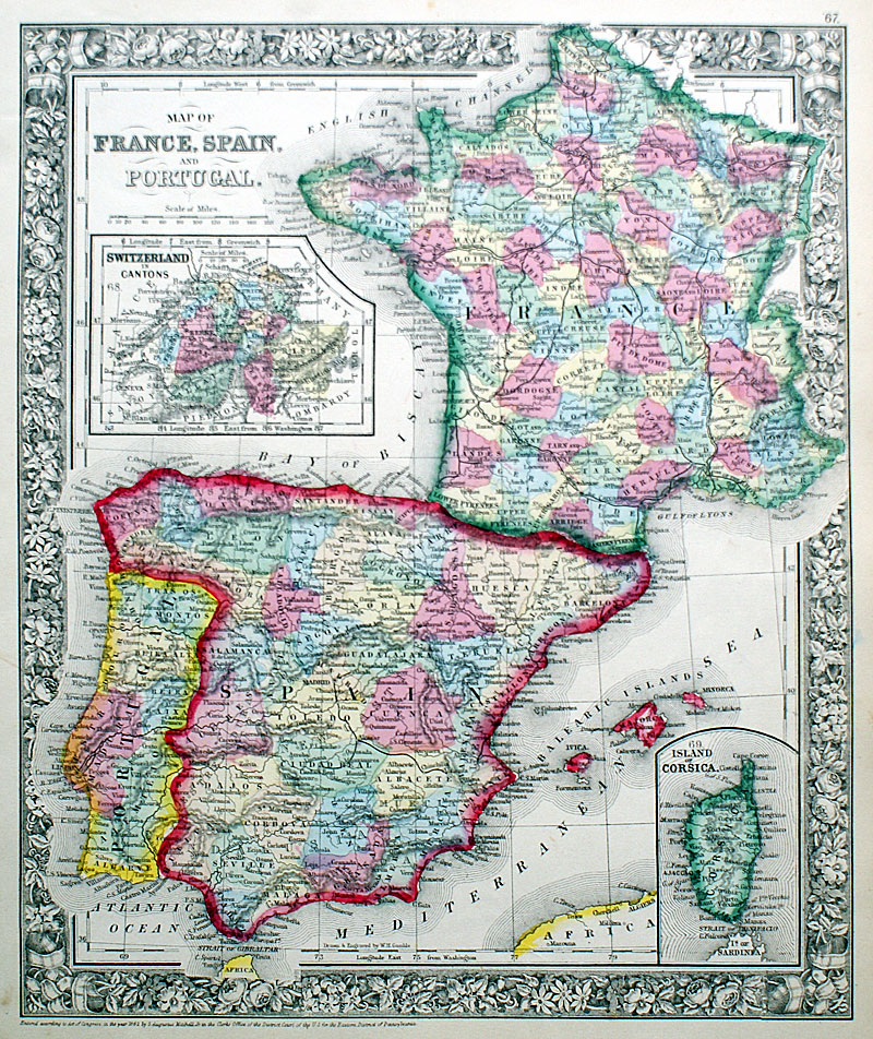 Map Of Spain And Portugal And France.Map Of France Spain And Portugal C 1862 Mitchell M 13951