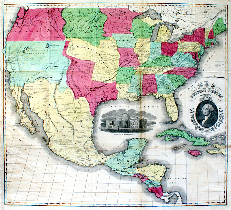 Map Of The United States 1850 Large Texas Case Tiffany M 14019 - Texas-on-the-us-map
