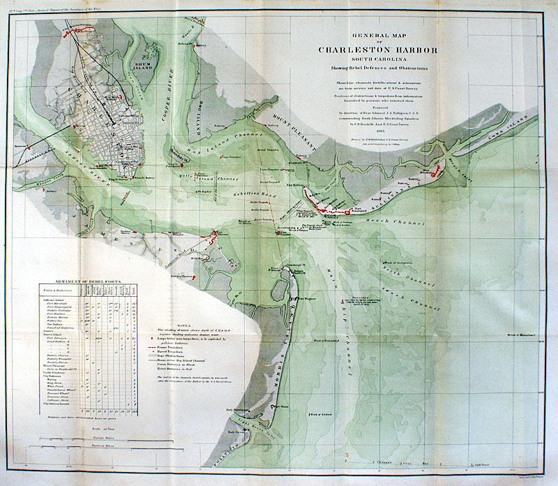 General Map Of Charleston Harbor 1865 Us Coast Survey M 14020 - Map-of-us-in-1865