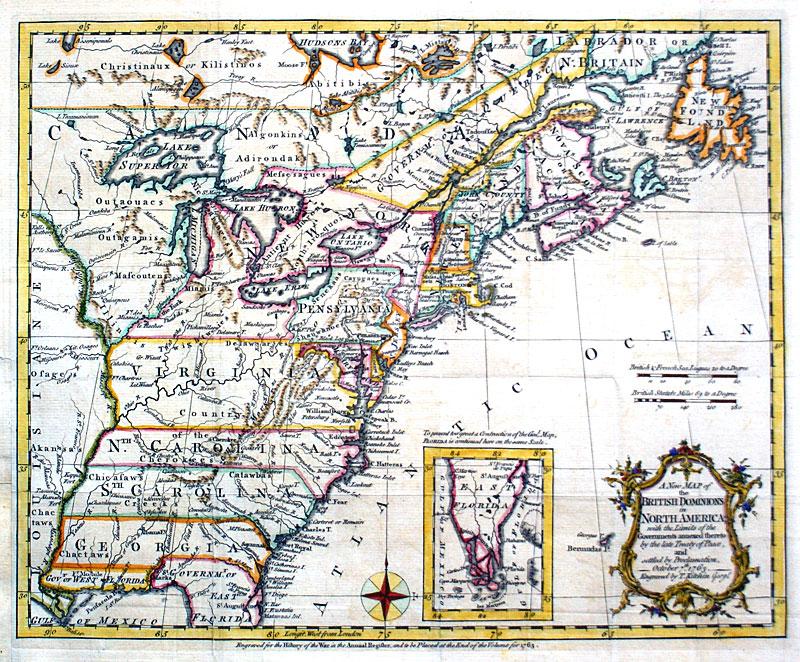 Map Of North America 1763.British Dominions In North America 1763 Kitchen M 14031 0 00