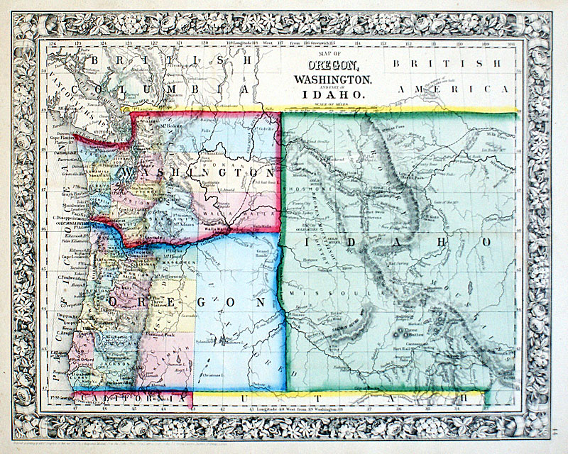 Map Of Oregon Washington And Part Of Idaho C 1863 Mitchell M