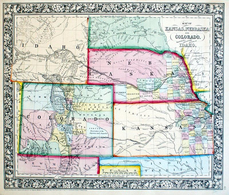 Map Of Kansas Nebraska And Colorado C 1863 Mitchell M 14046