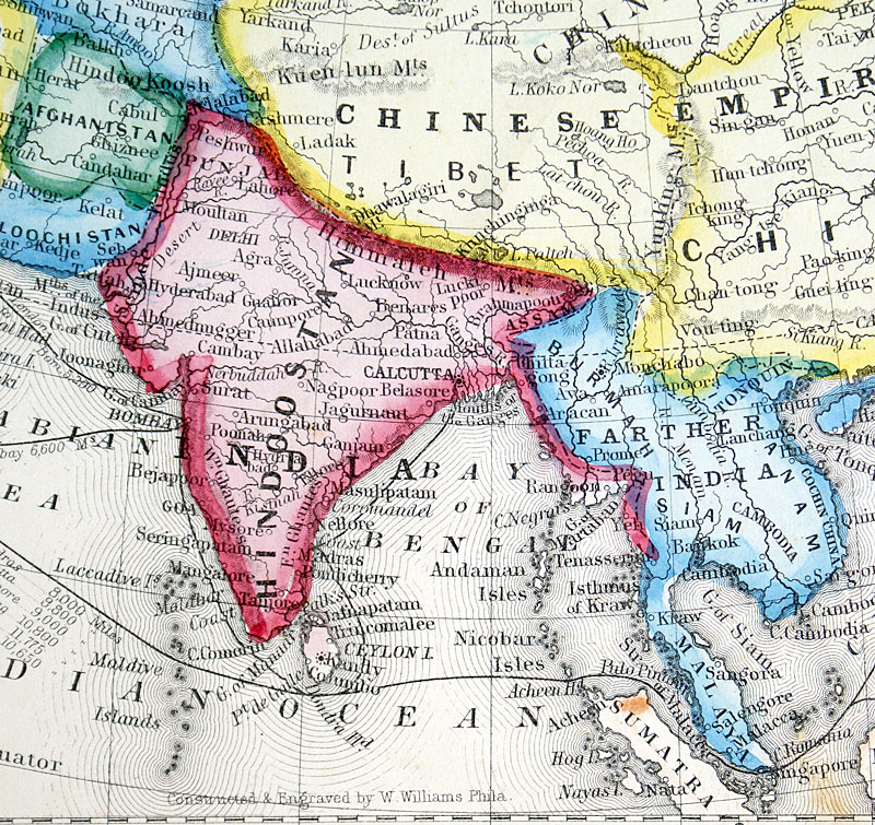 Map Of Asia 800 Ad.Map Of Asia C 1863 Mitchell