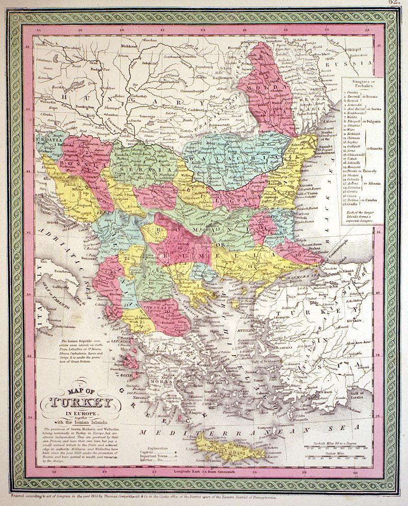 MAP OF TURKEY IN EUROPE Balkans c 1854  Cowperthwait M5217