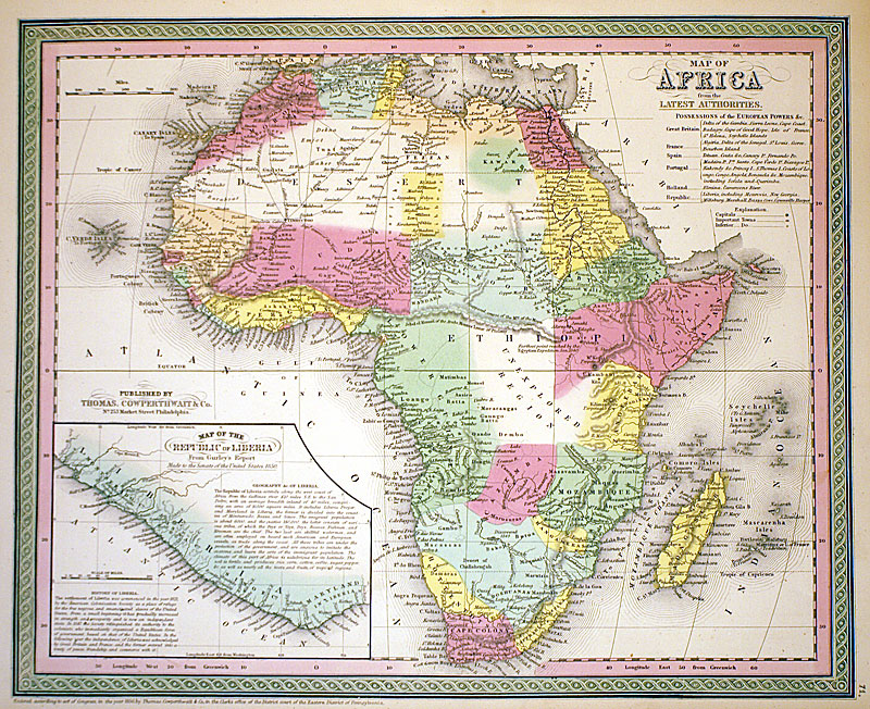 Map Of Africa 1850.Map Of Africa C 1854 Cowperthwait M 5300 0 00 Antique