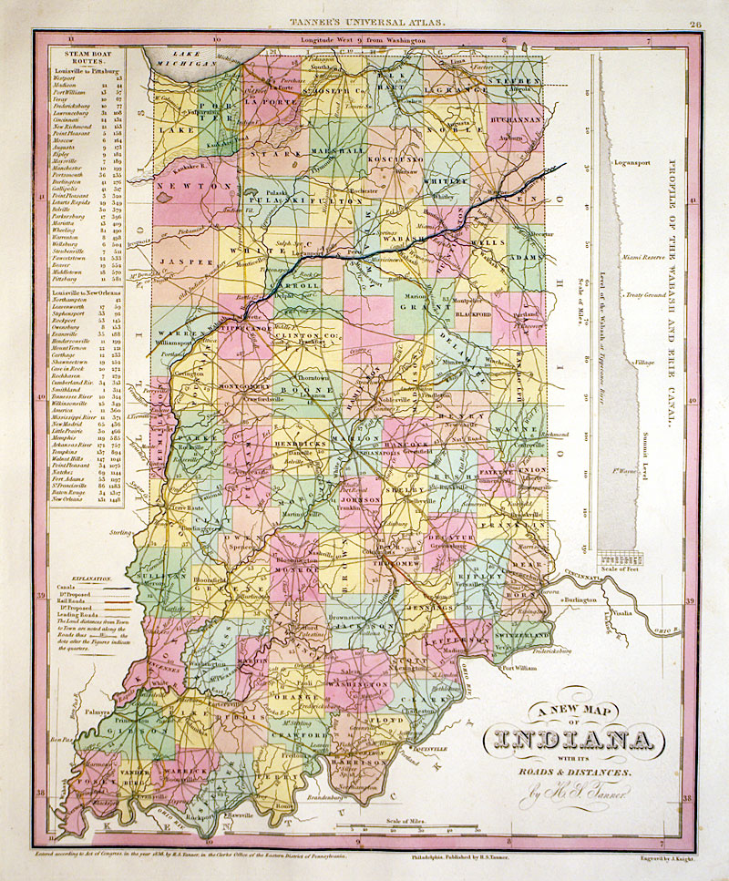 A NEW MAP OF INDIANA C Tanner M - Map if indiana