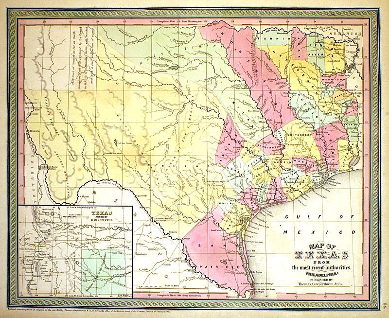 u0026 39  u0026 39 map of texas     u0026 39  u0026 39  c 1850 - cowperthwait  m-8002