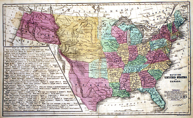 Map Of The United States And Canada C 1846 Burgess M 9373